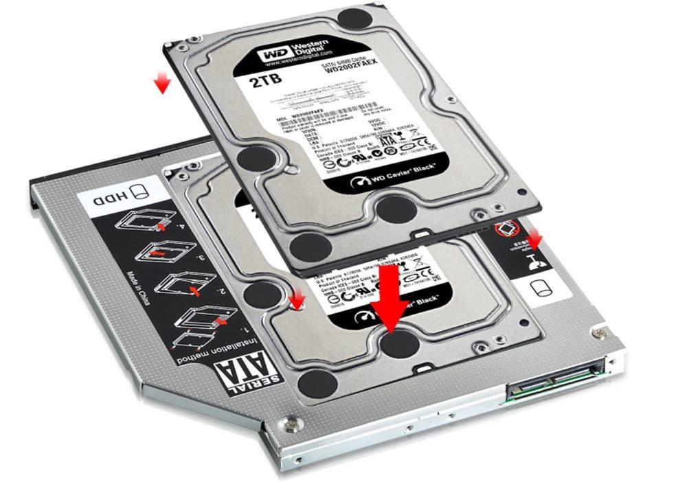 adaptateur disque dur cd-rom dans ordinateur portable