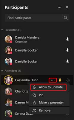Exemple de contrôles dans les réunions Teams