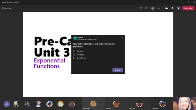 Exemple de sondage dans Microsoft Teams