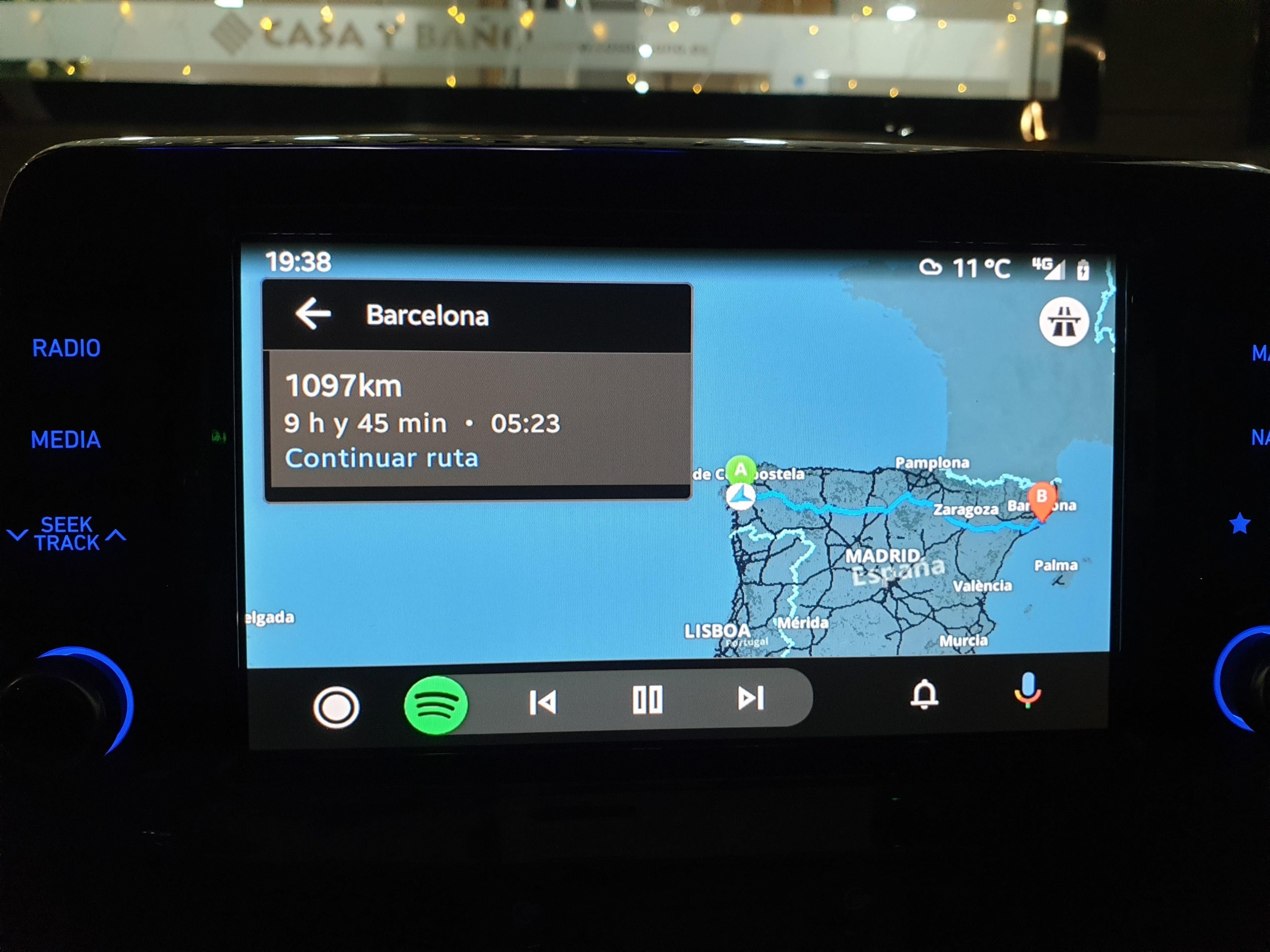 Interface Sygic Android Auto
