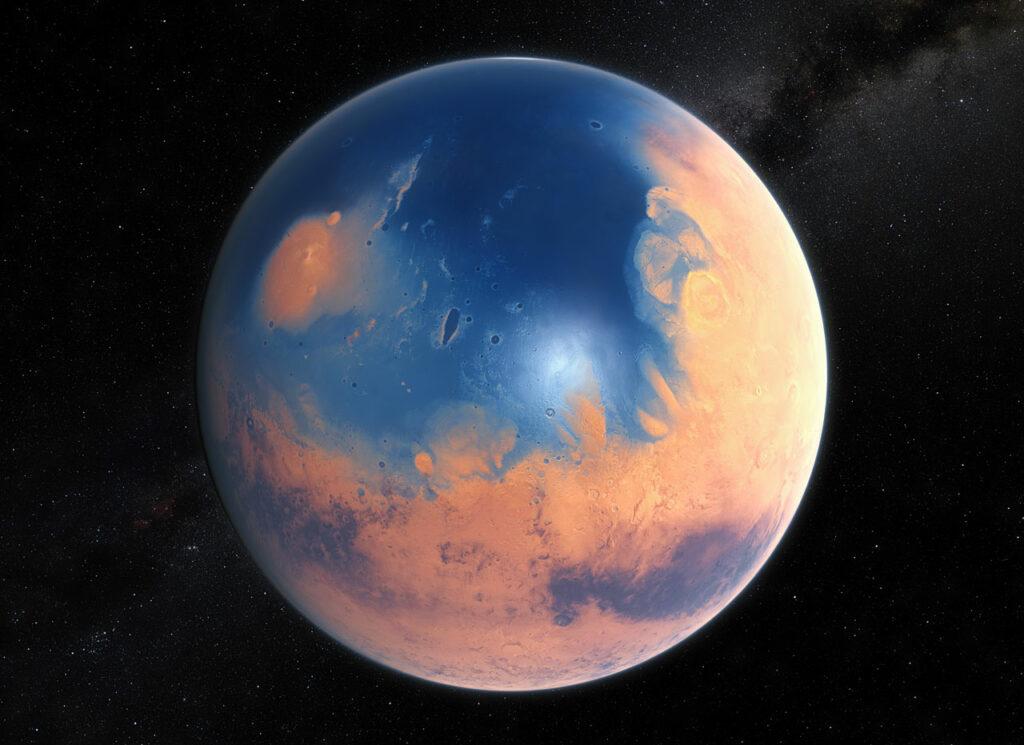 La jeune planète Mars aurait suffisamment d'eau pour couvrir toute sa surface dans une couche liquide d'environ 140 mètres de profondeur