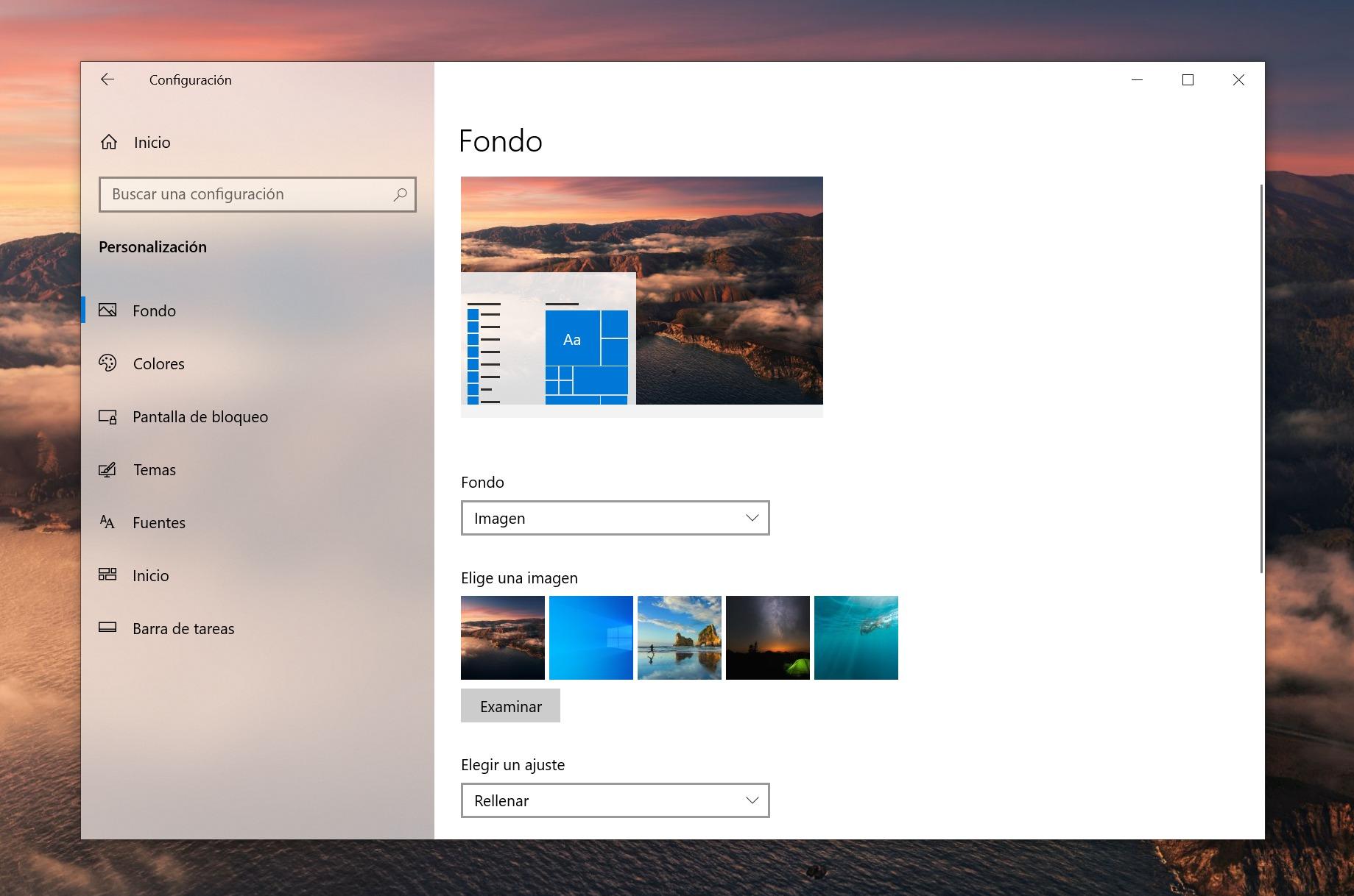 Section de personnalisation de Windows 10