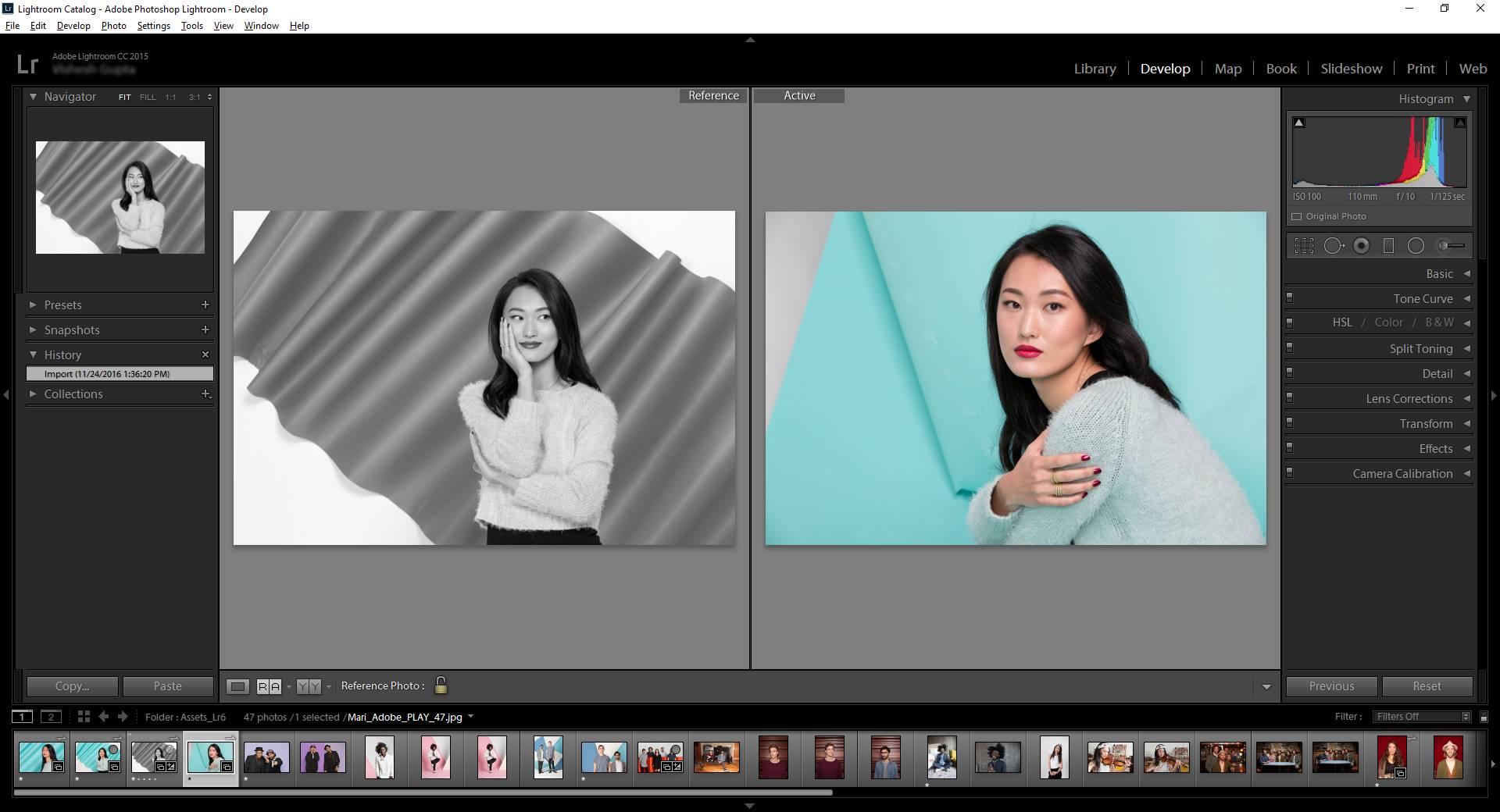 Exemple d'édition dans Adobe Lightroom
