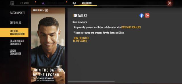 Free Fire Cristiano Ronaldo Collaboration avec un personnage jouable avec opération chrono confirmée