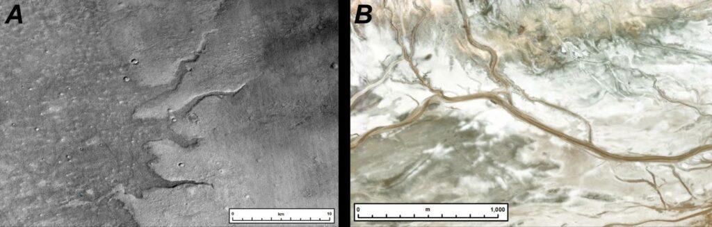 Enregistrements de la surface de Mars réalisés par des sondes de la NASA