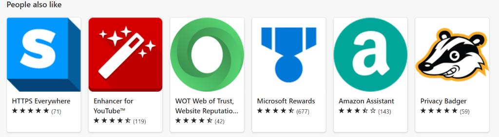 Les gens aimeront également la section du magasin d'extensions Microsoft Edge