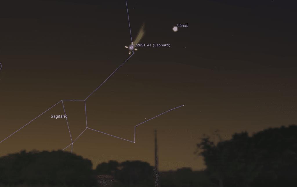 Vision attendue pour la comète C / 2021 A1 (Leonard) en conjonction avec Vénus dans le ciel de São Paulo