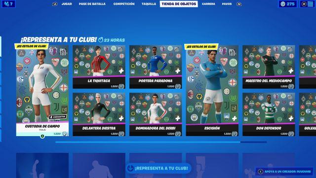 fortnite chapitre 2 saison 5 skins set de football équipes de lancement de vrais clubs
