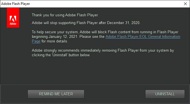 Avis de fin de support d'Adobe Flash Player sous Windows 10