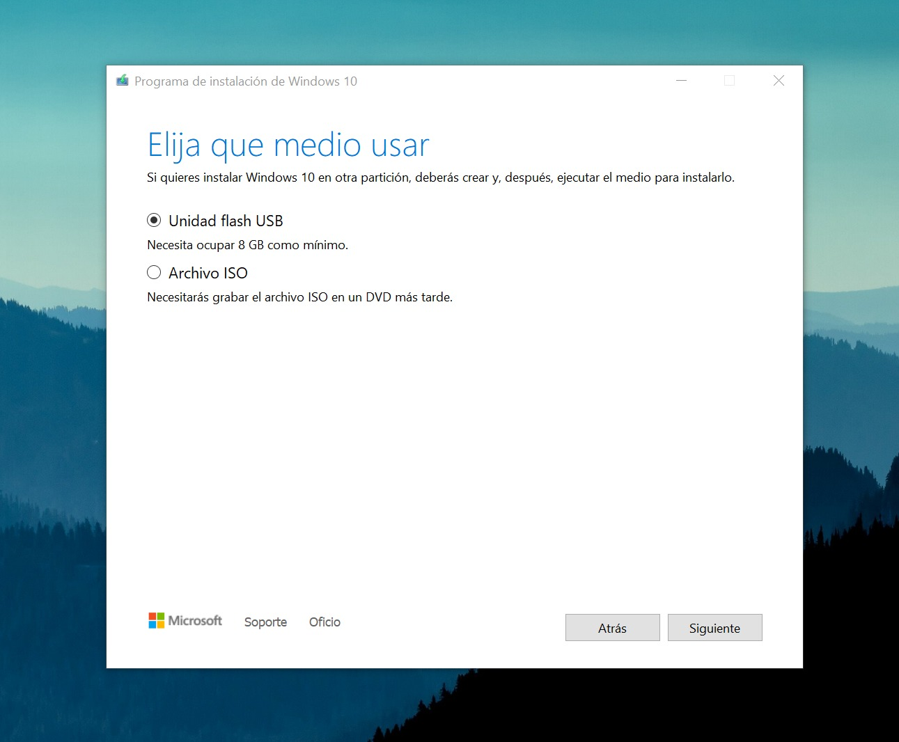 Assistant de création de support d'installation Windows 10