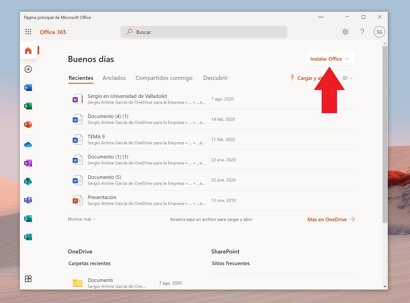 Site Web Office 365, à partir duquel nous pouvons installer Office gratuitement pour les centres éducatifs