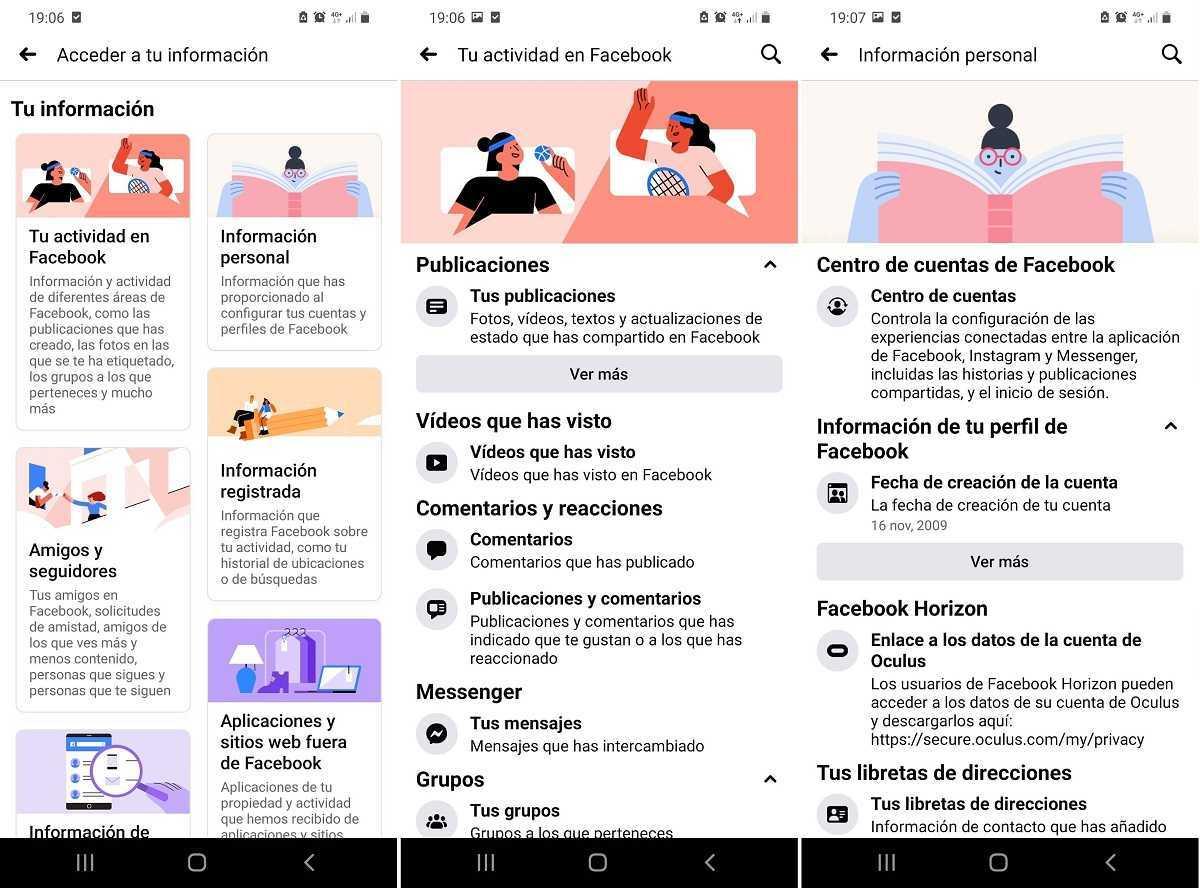 Nouvelle interface de données personnelles Facebook