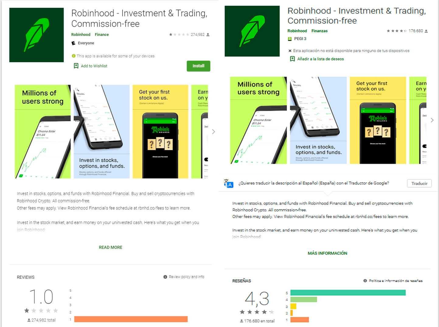 Google supprime 100000 avis sur l'application RobinHood dans le Play Store
