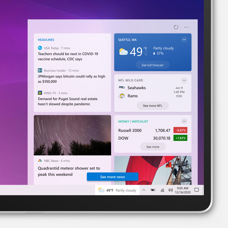 Actualités et centres d'intérêt dans Windows 10 Build 21286
