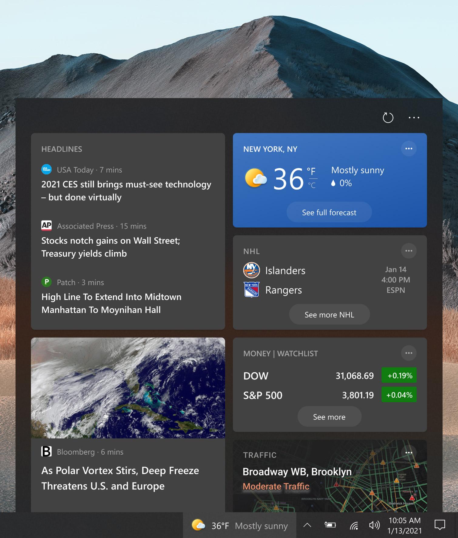 Widget d'actualités et d'intérêts Windows 10 Sun Valley