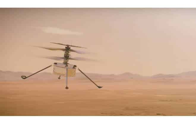 Illustration de l'hélicoptère Ingenuity survolant le paysage martien