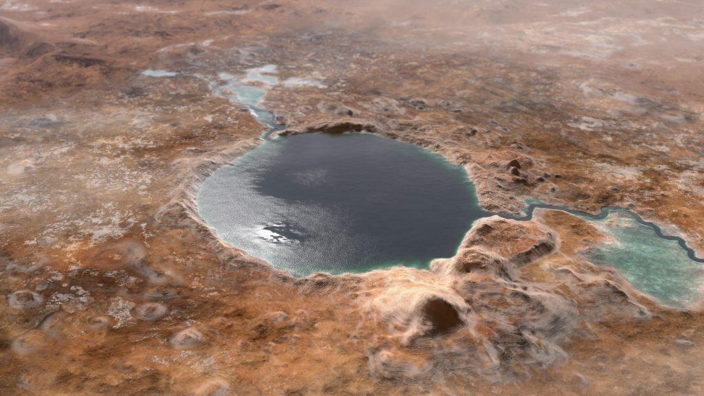 L'illustration montre à quoi ressemblait le cratère Jezero il y a des milliards d'années.  L'endroit était un lac, où une rivière coulait