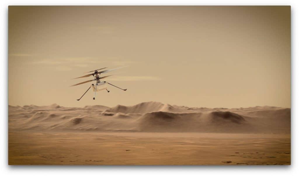 L'illustration montre le drone Ingenuity survolant le paysage martien.
