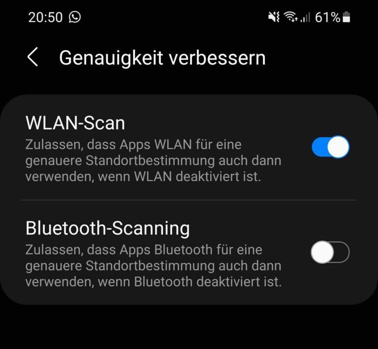 Au moins m'a aidé avec mon Samsung Galaxy S20: désactiver la numérisation Bluetooth.  (Capture d'écran)