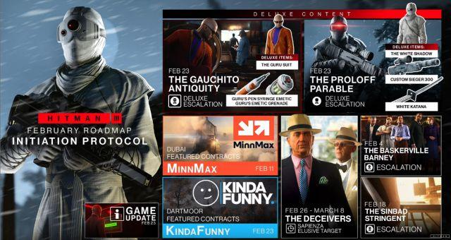 Mise à jour du contenu de la feuille de route Hitman 3 Février 2021 Escalade des contrats Cibles insaisissables PS5 Série Xbox PS4