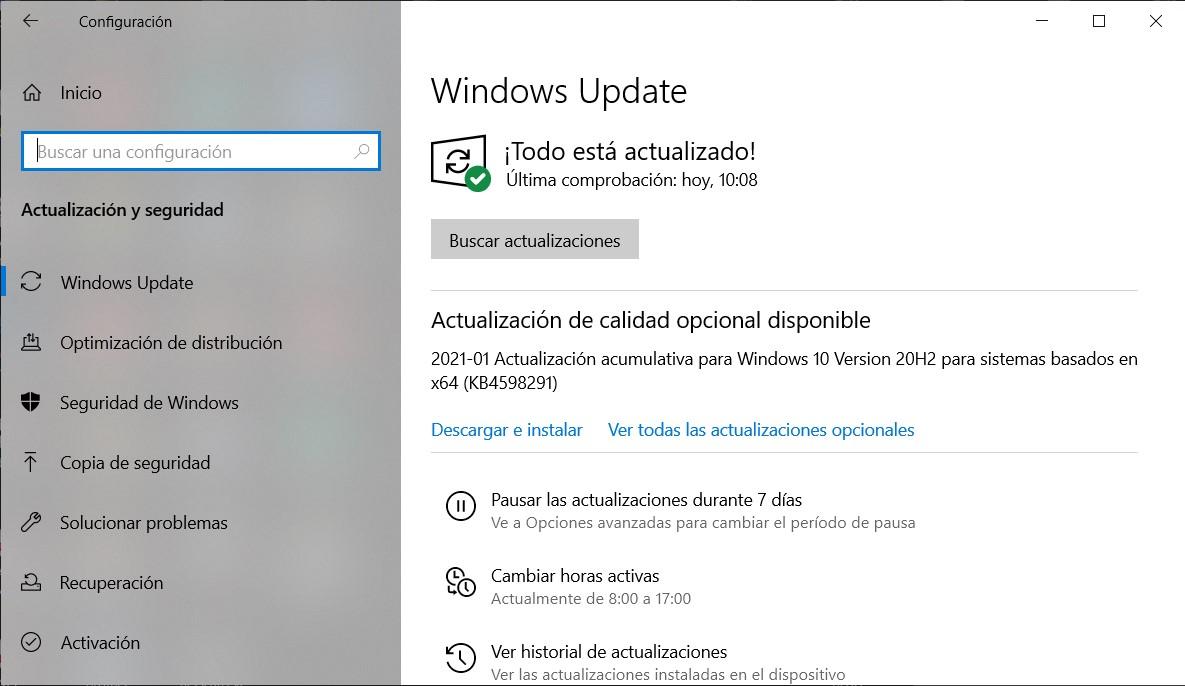 Mise à jour KB4598291 offerte via Windows Update