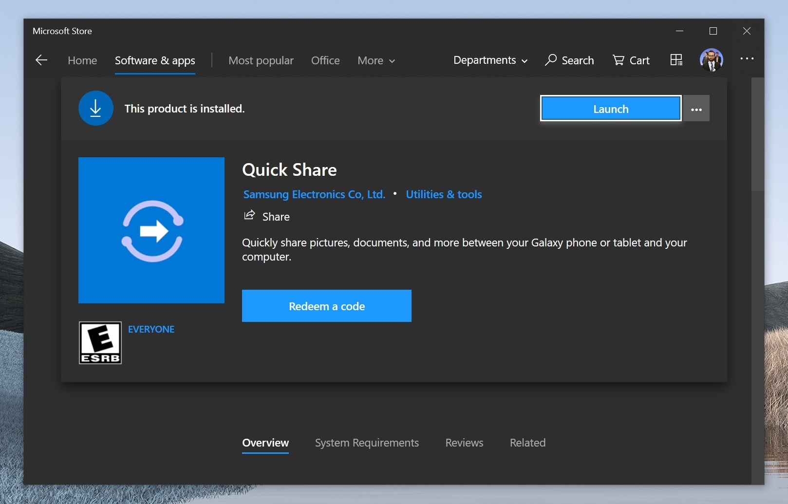 Application Quick Share pour Windows 10