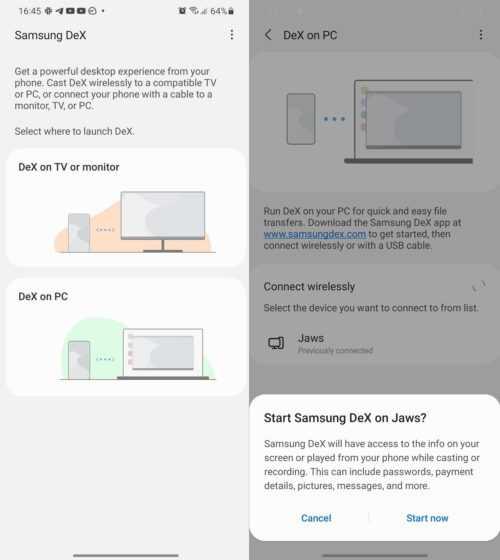 Samsung DeX sans fil Galaxy S21