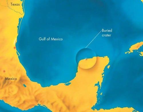 Cratère de Chicxulub par rapport au golfe du Mexique