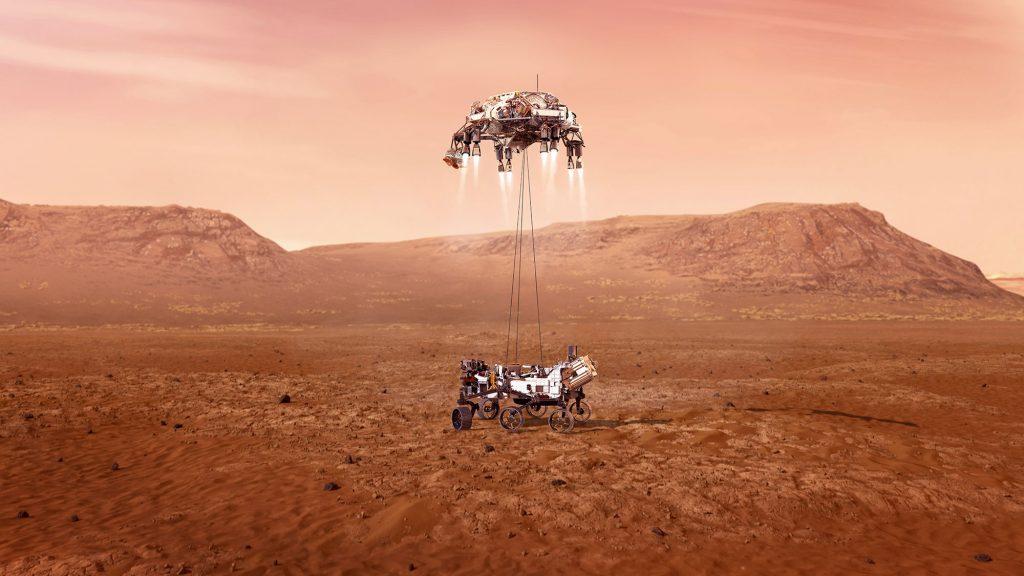 L'illustration montre ce que le rover Perseverance devrait toucher le sol de Mars.