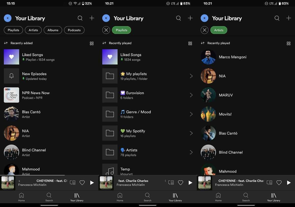Nouvelle bibliothèque Spotify