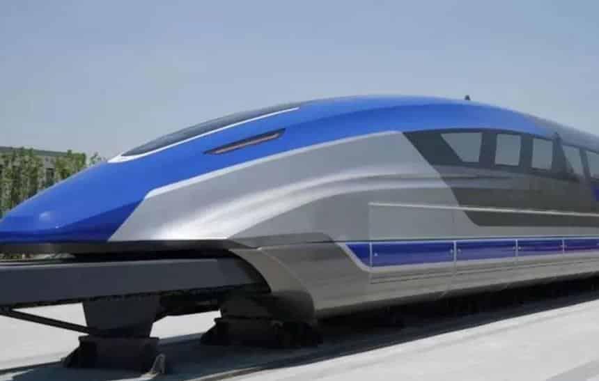 Train chinois utilisant des supraconducteurs et une lévitation magnétique (MagLev) pour éliminer le frottement avec les rails et atteindre une vitesse élevée