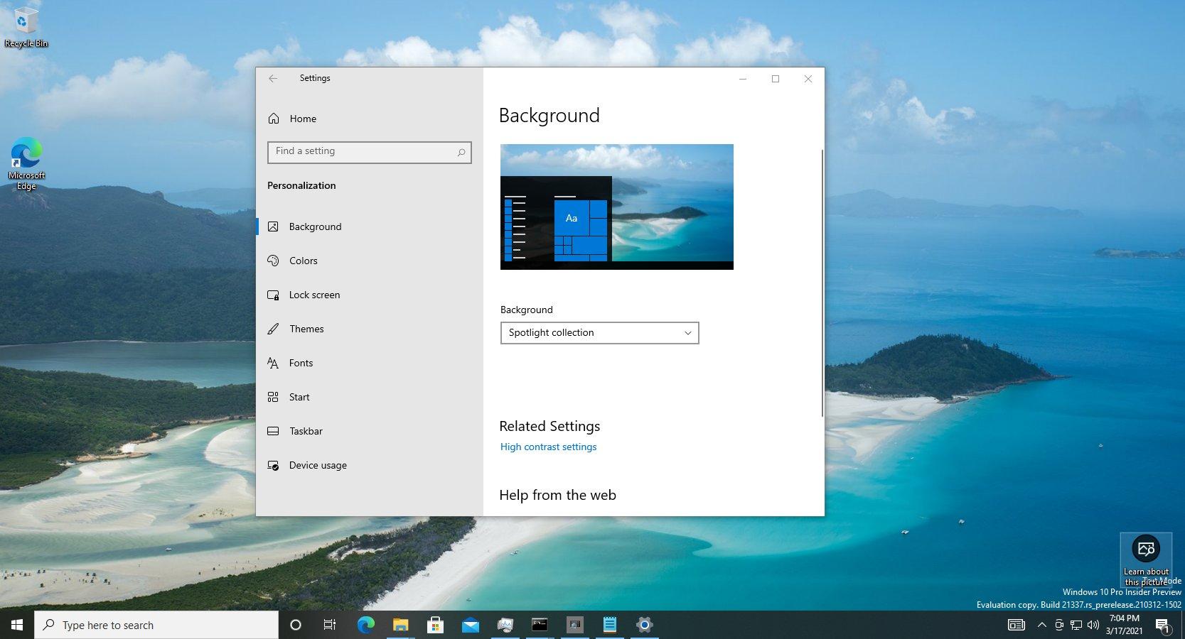 Windows Spotlight sur le bureau Windows 10