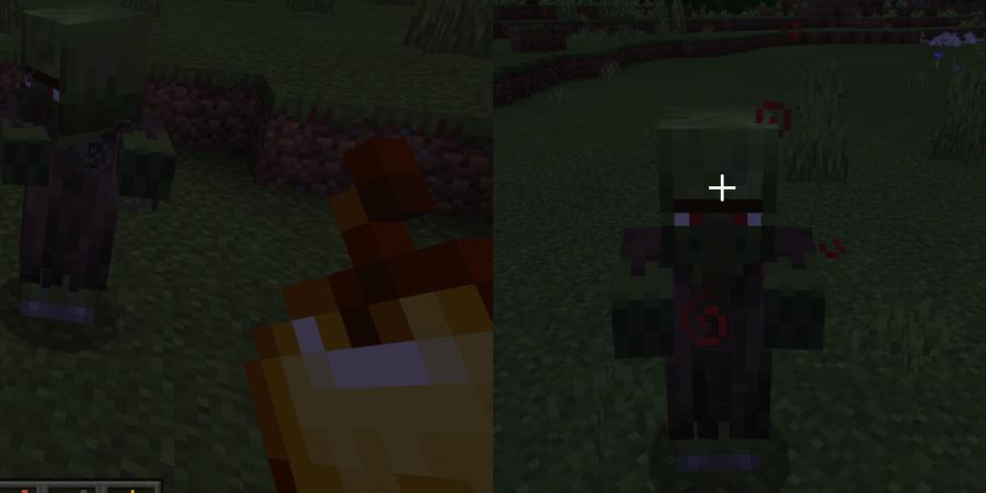 Un villageois zombie en pleine transformation.