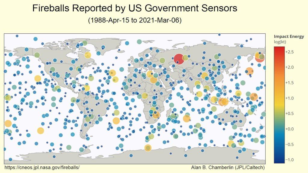 Impacts des petits astéroïdes sur l'atmosphère terrestre détectés par le réseau mondial de capteurs d'infrasons depuis 1988 - Source: JPL / Nasa