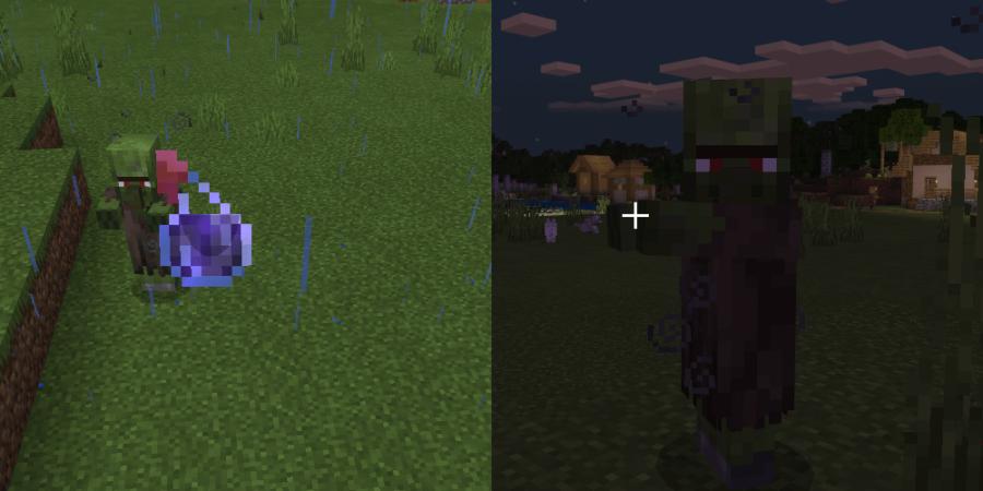 Un villageois zombie sous l'effet de faiblesse.
