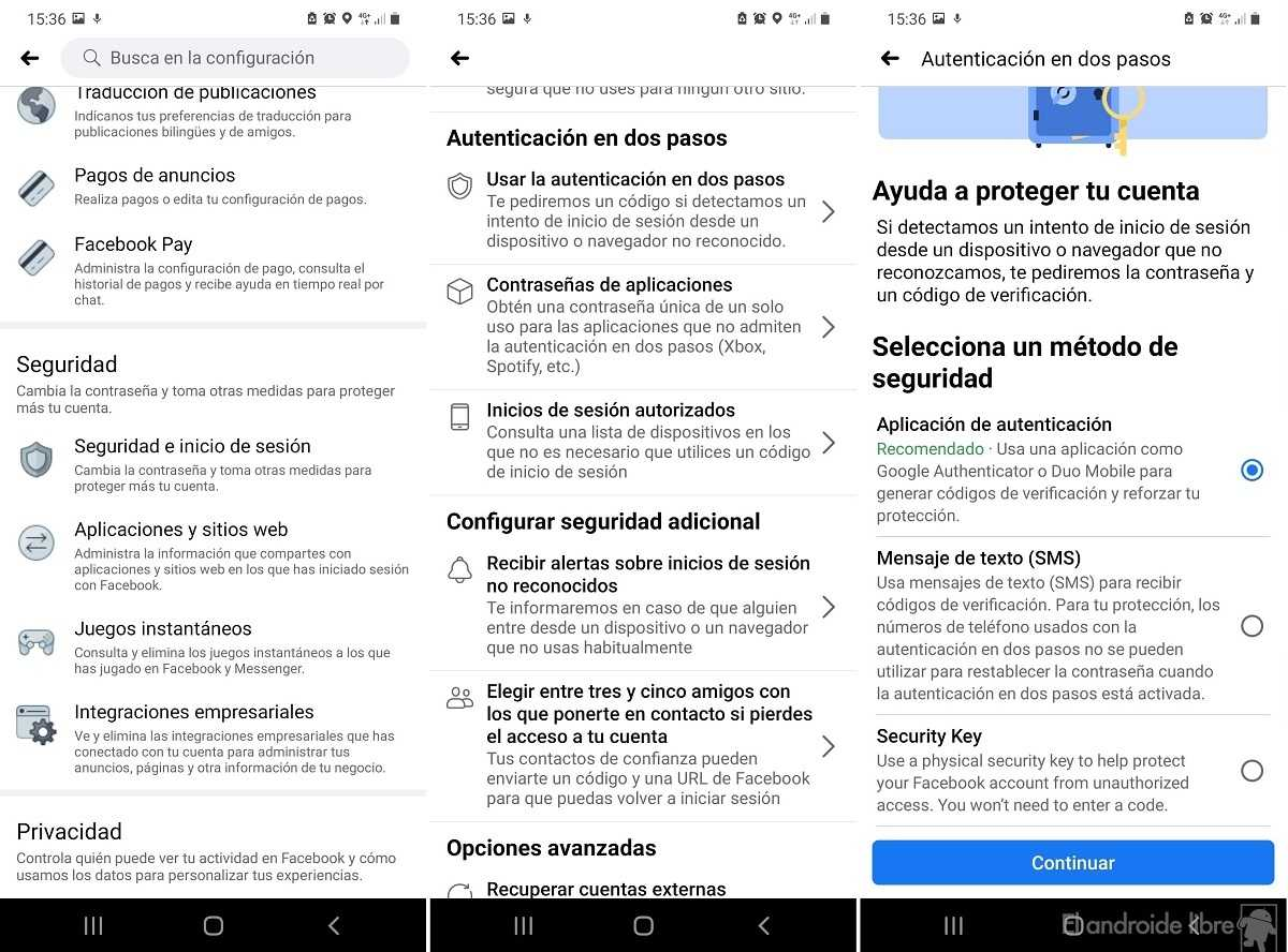 Clé de sécurité Facebook Android