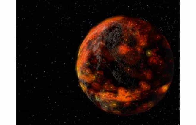 Illustration de l'océan magma qui aurait couvert la surface de la Lune pendant 200 millions d'années après sa formation, à la suite de la collision entre la Terre et la protoplanète Theia