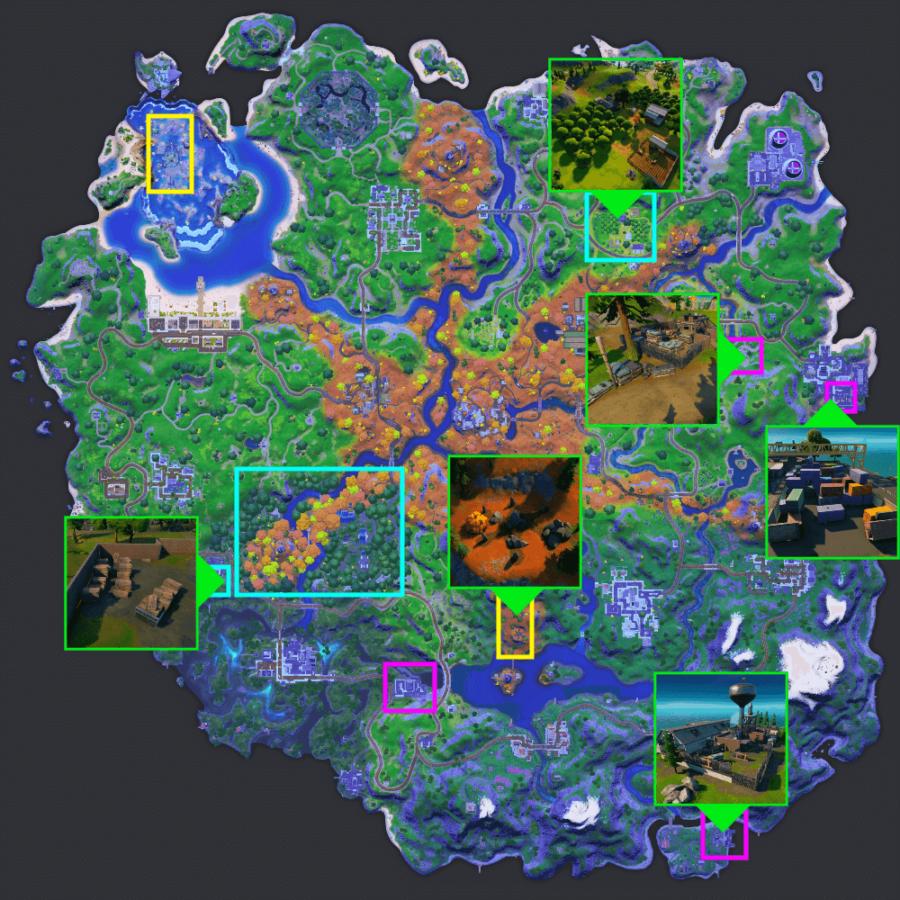 Carte des bons endroits pour récolter des ressources dans la saison 6 de Fortnite.
