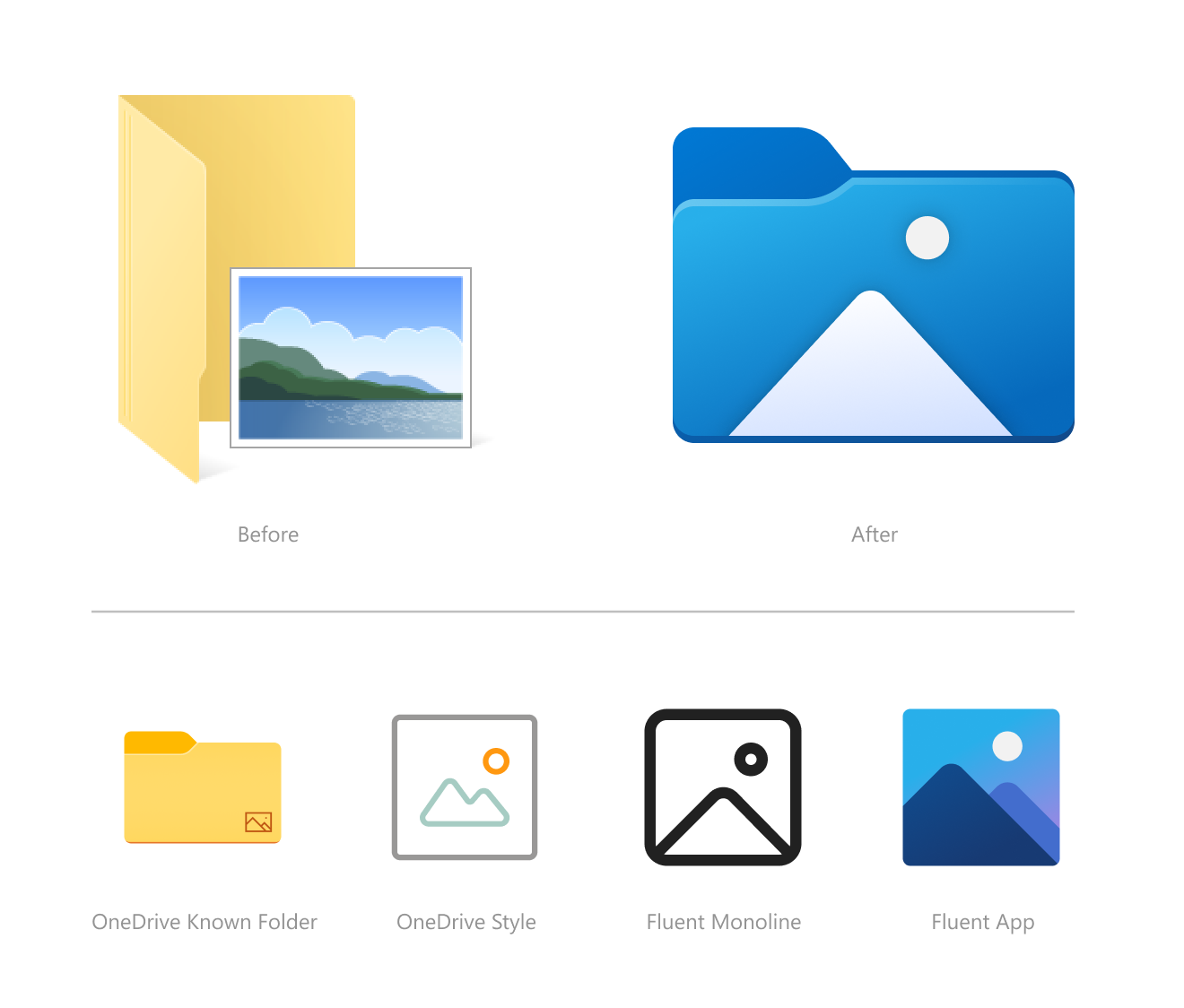 Nouvelles icônes de l'explorateur de fichiers dans Sun Valley