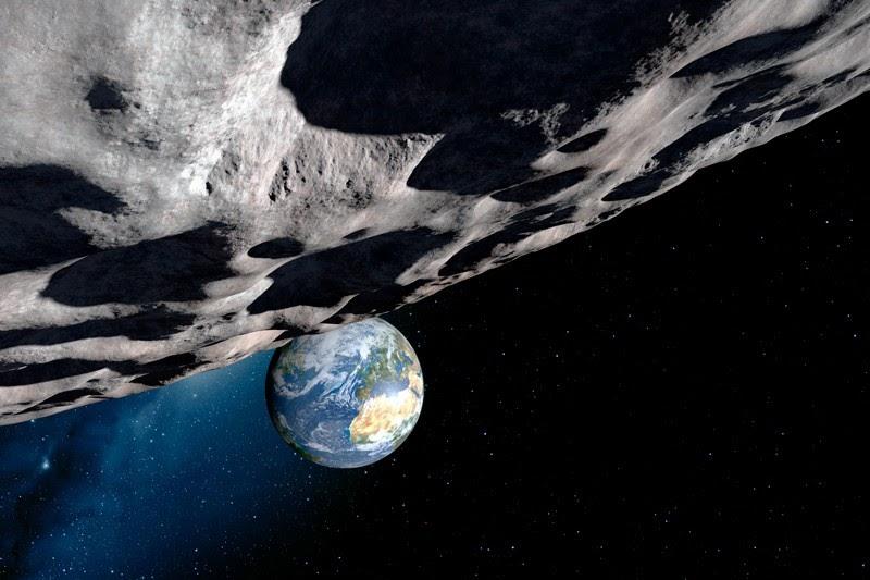 Impression artistique de l'approche de l'astéroïde Apophis, à moins de 40000 km de la Terre en 2029 - Crédits: Detlev van Ravensway / SPL