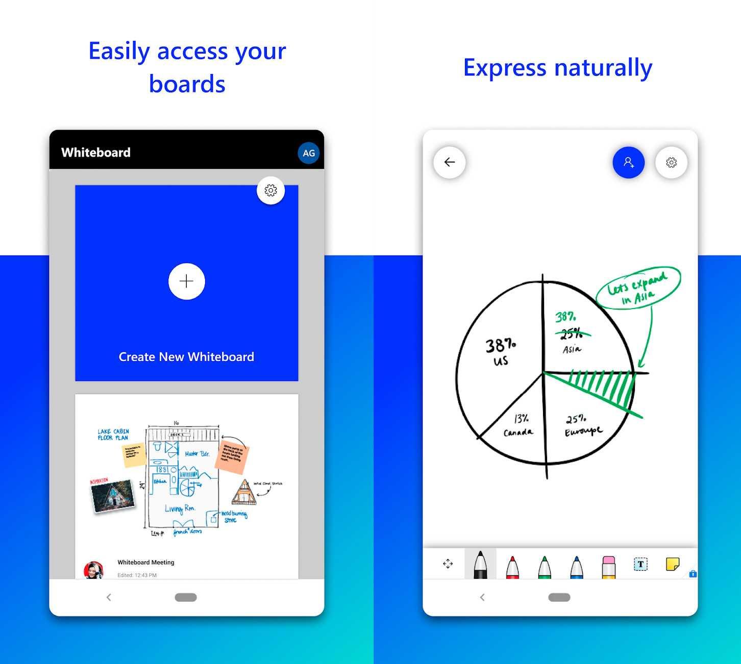Tableau blanc Microsoft maintenant sur Android: tableaux blancs partagés dans le cloud