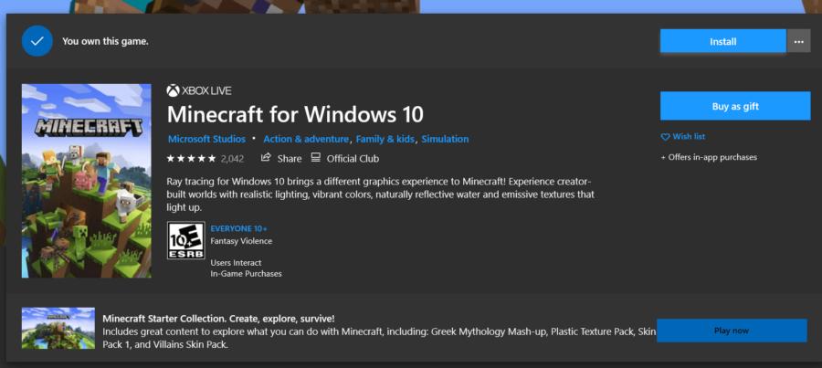 Le bouton Installer pour Minecraft Windows 10.