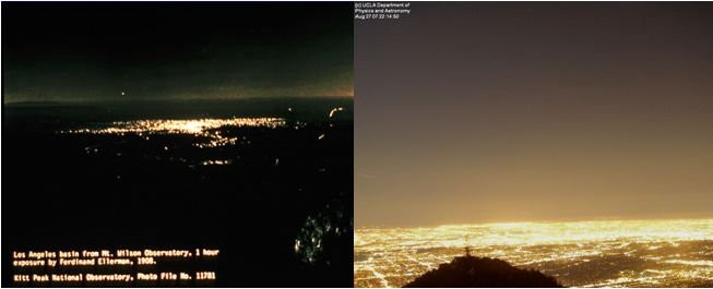 Pollution lumineuse de Los Angeles en 1908 (à gauche) et 2017 (à droite).  Crédits: UCLA