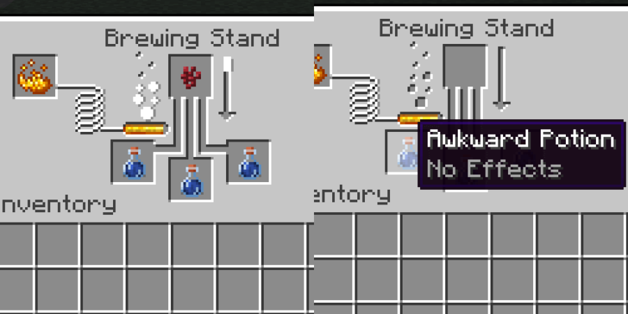 Préparer une potion maladroite dans Minecraft.