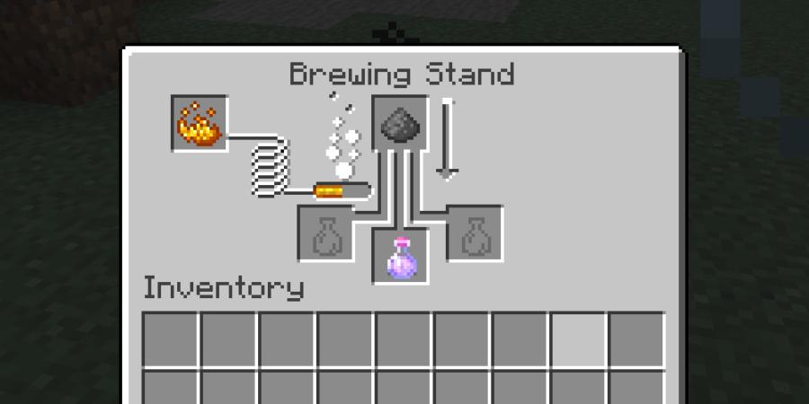 Brassage avec de la poudre à canon dans Minecraft.