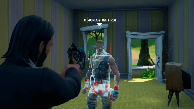 Talking to Jonesy the First in Fortnite.