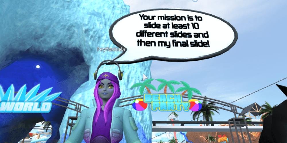 Fey lance un défi dans le parc aquatique océanique.