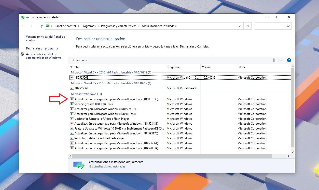 Désinstaller la mise à jour KB5001330 de Windows Update