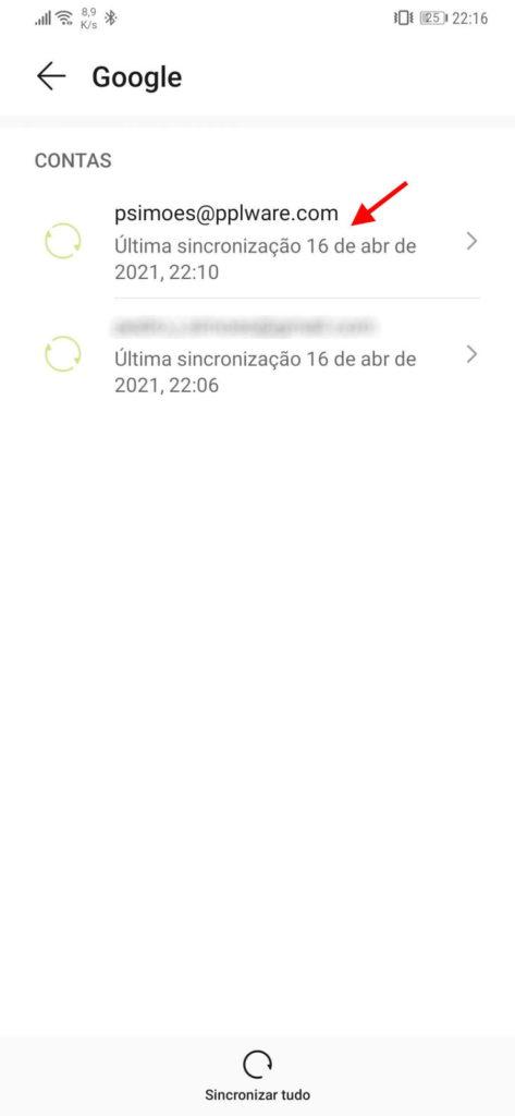 Données de synchronisation du compte Google Android