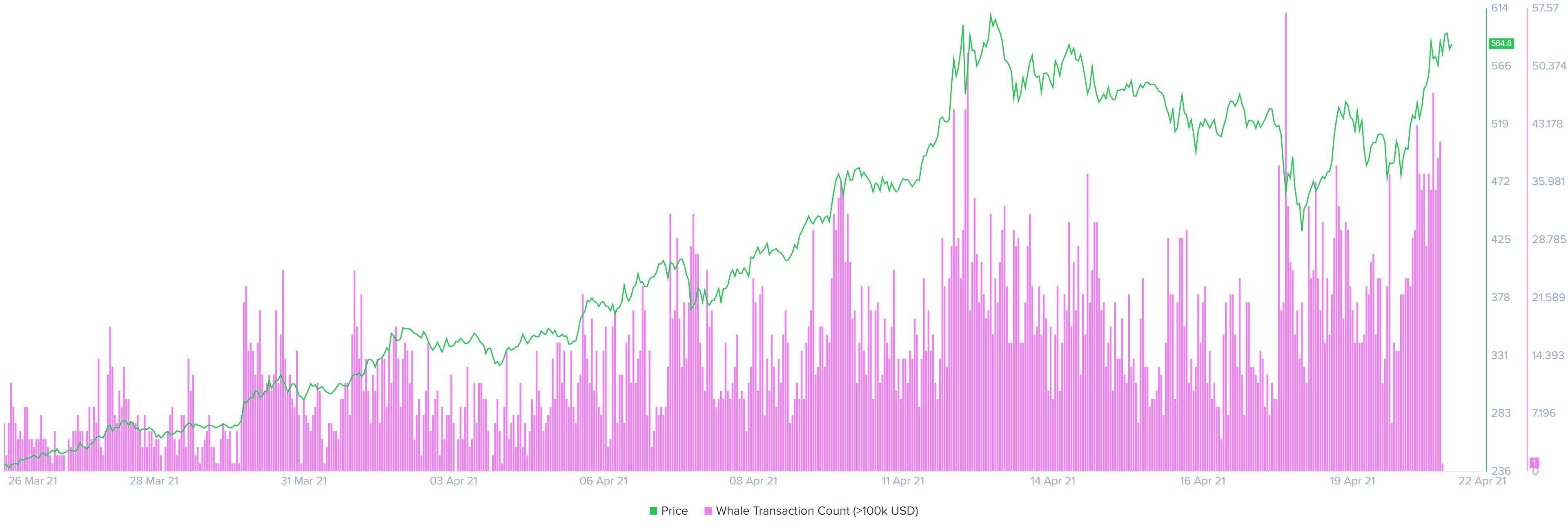 Graphique du nombre de transactions BNB Whale